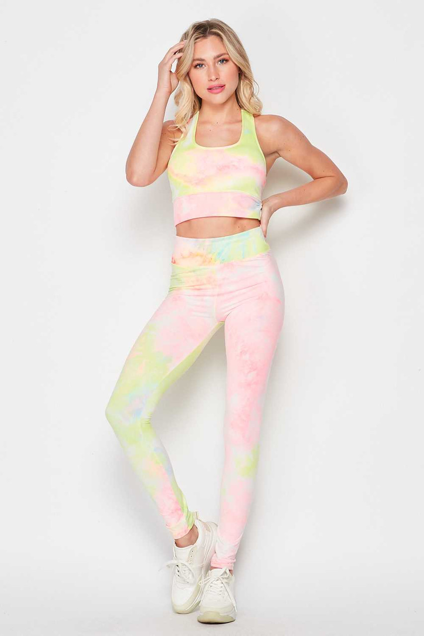 Front of 2 Piece Pink and Yellow Tie Dye Crop Top and Legging Set with a gorgeous pastel fabric design.