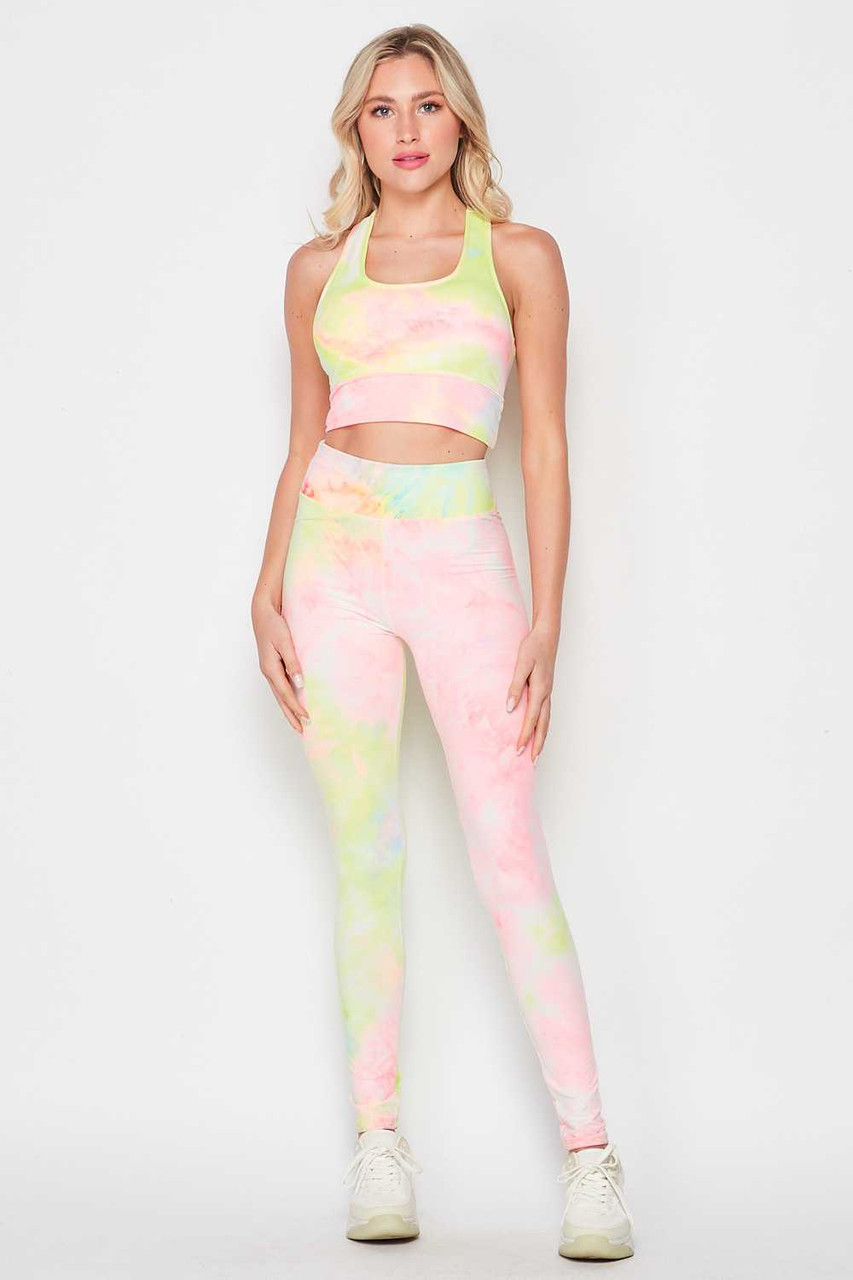 Front view of 2 Piece Pink and Yellow Tie Dye Crop Top and Legging Set