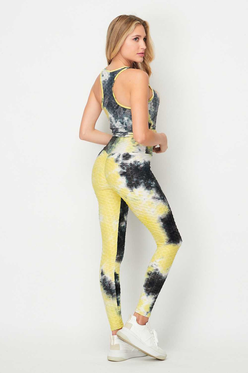 45 degree back right side image of 2 Piece Black and Yellow Tie Dye Scrunch Butt Sport Leggings and Tank Top Set