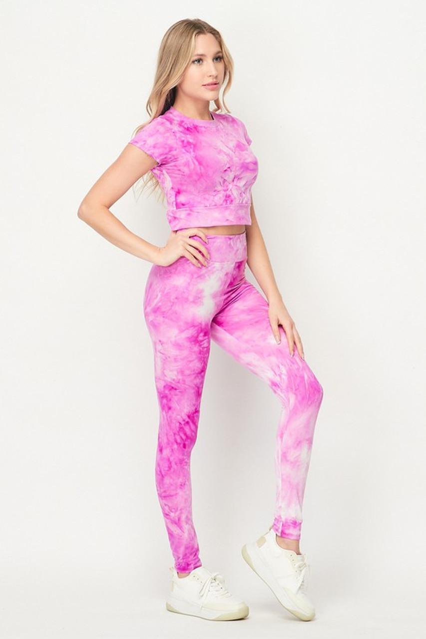 Pink Tie Dye 2 Piece Leggings and Short Sleeve Crop Top Set