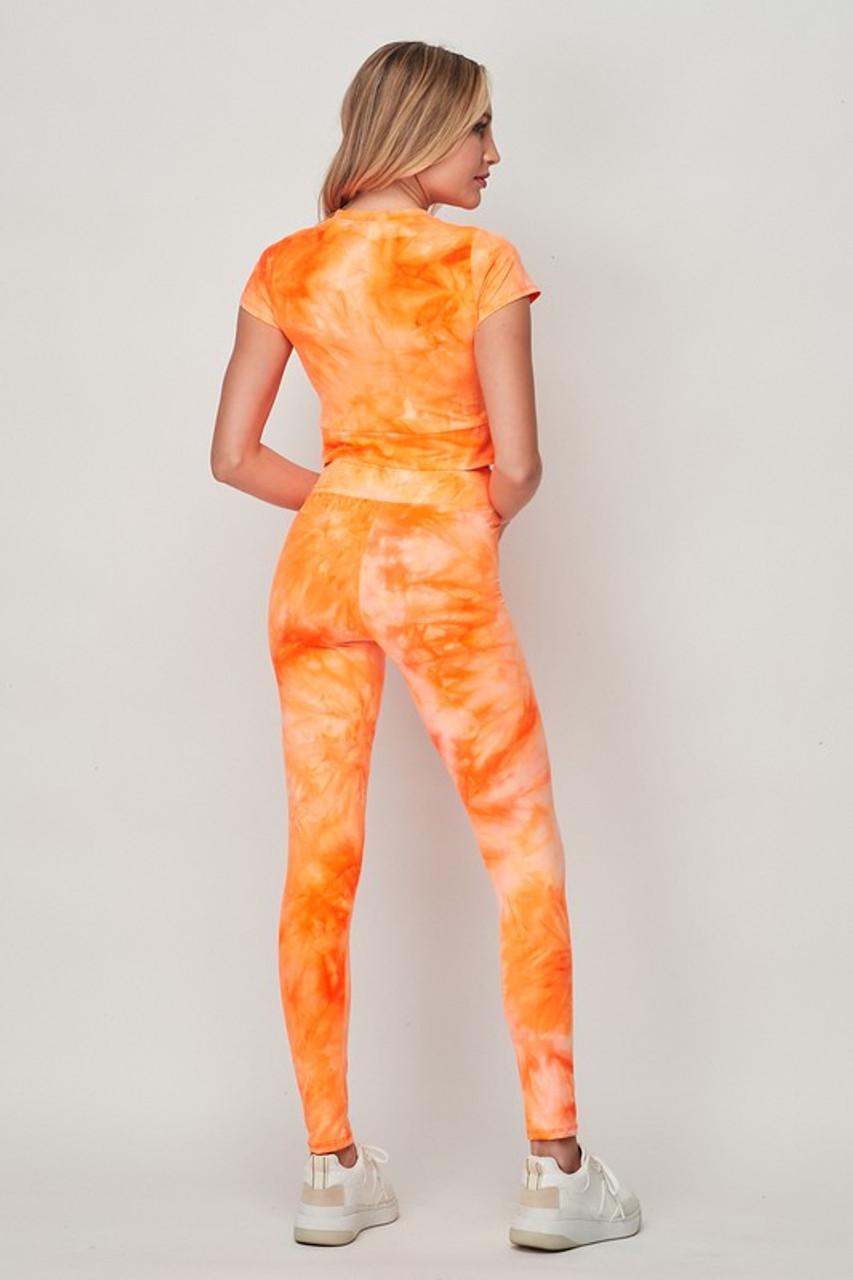 Orange Tie Dye 2 Piece Leggings and Short Sleeve Crop Top Set
