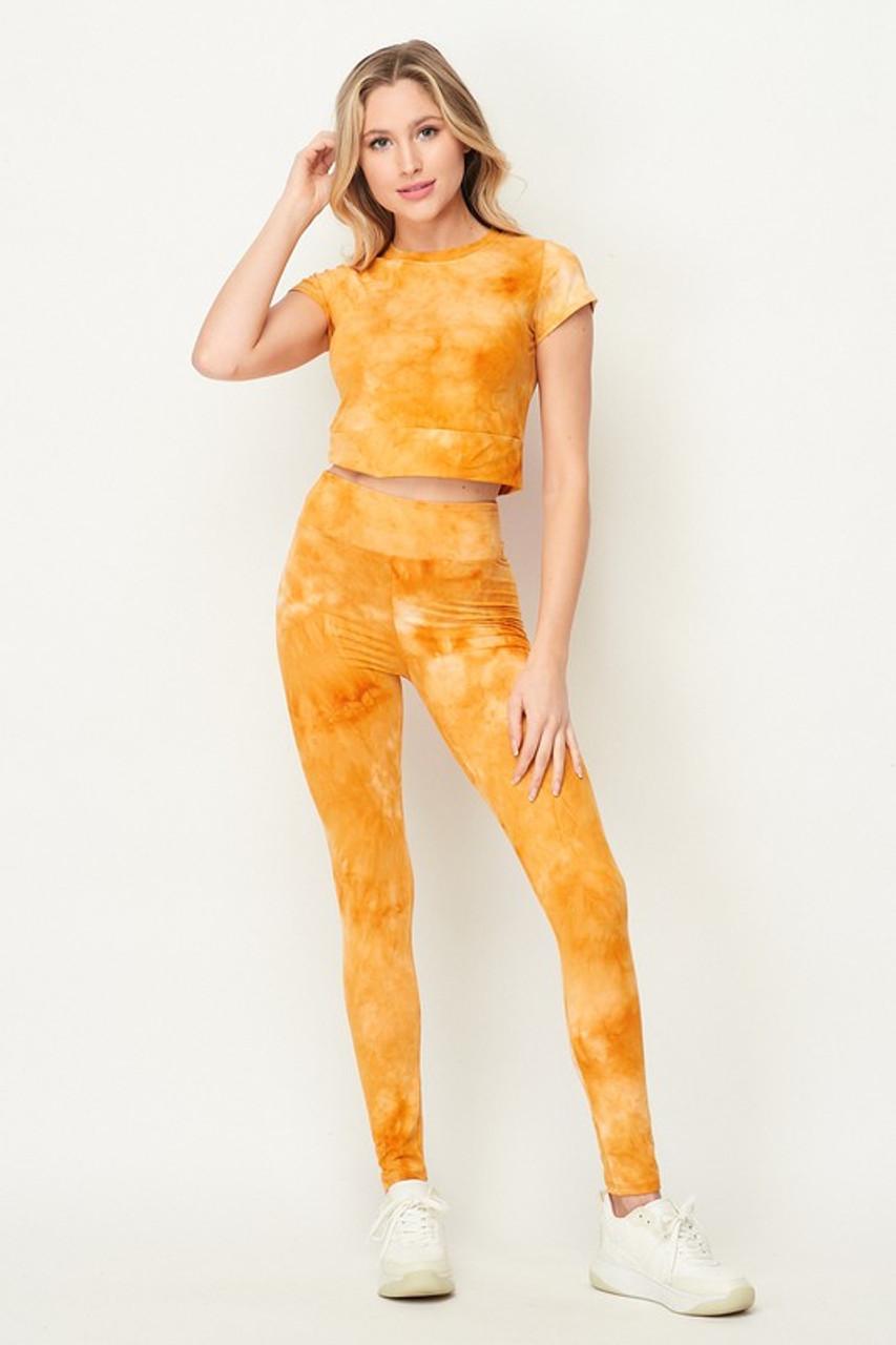 Mustard Tie Dye 2 Piece Leggings and Short Sleeve Crop Top Set