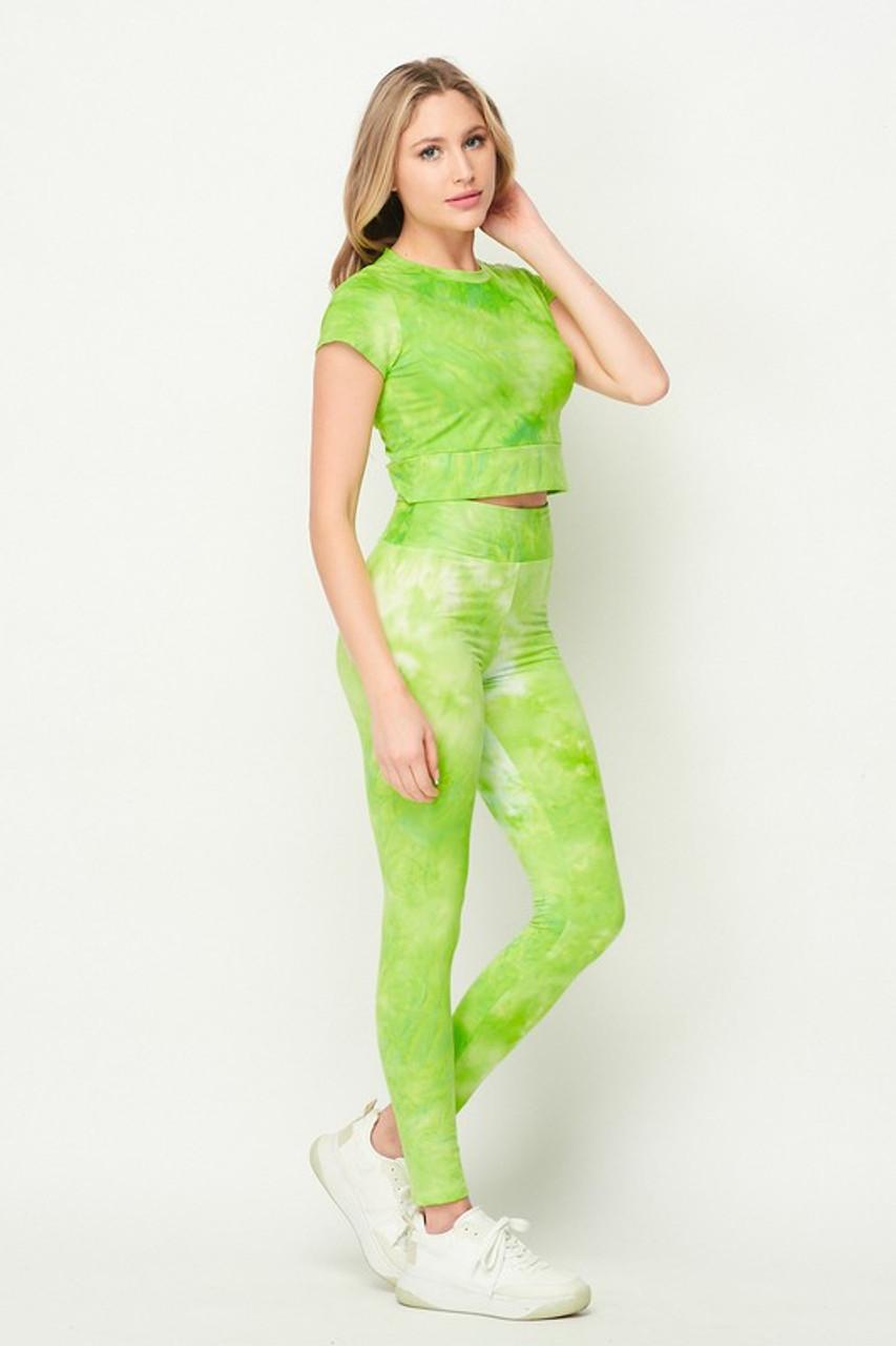 Lime Tie Dye 2 Piece Leggings and Short Sleeve Crop Top Set