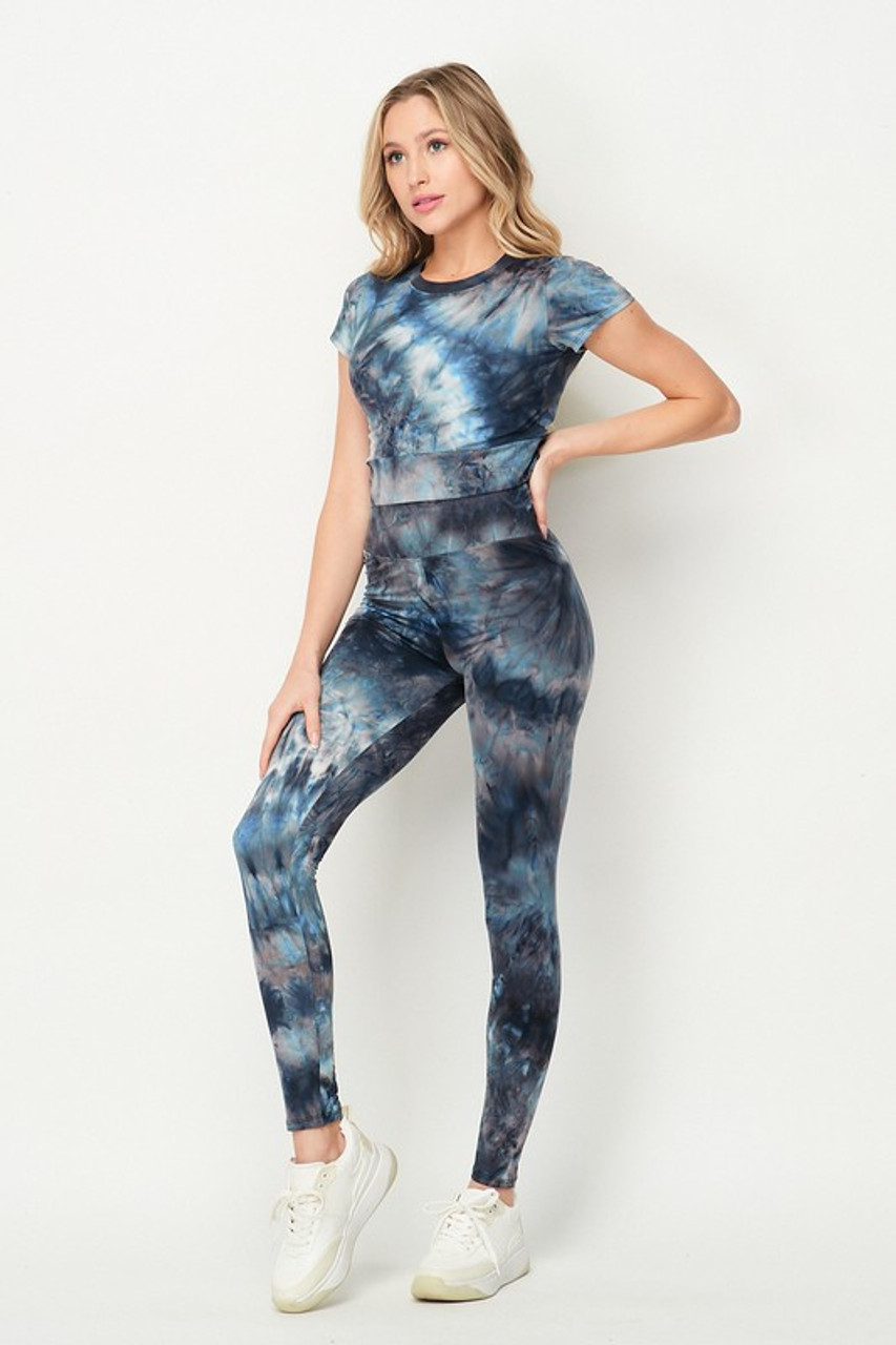 Navy Tie Dye 2 Piece Leggings and Short Sleeve Crop Top Set