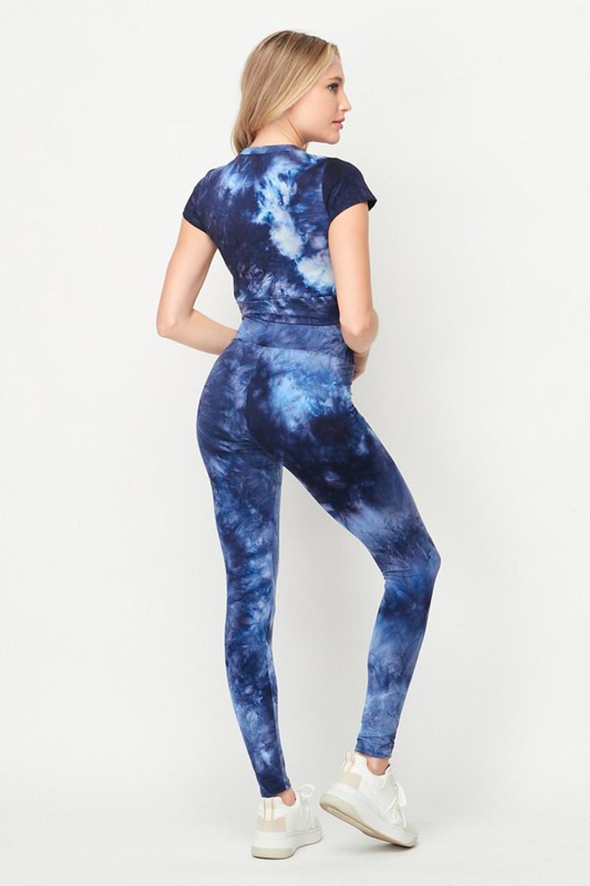 Blue Tie Dye 2 Piece Leggings and Short Sleeve Crop Top Set