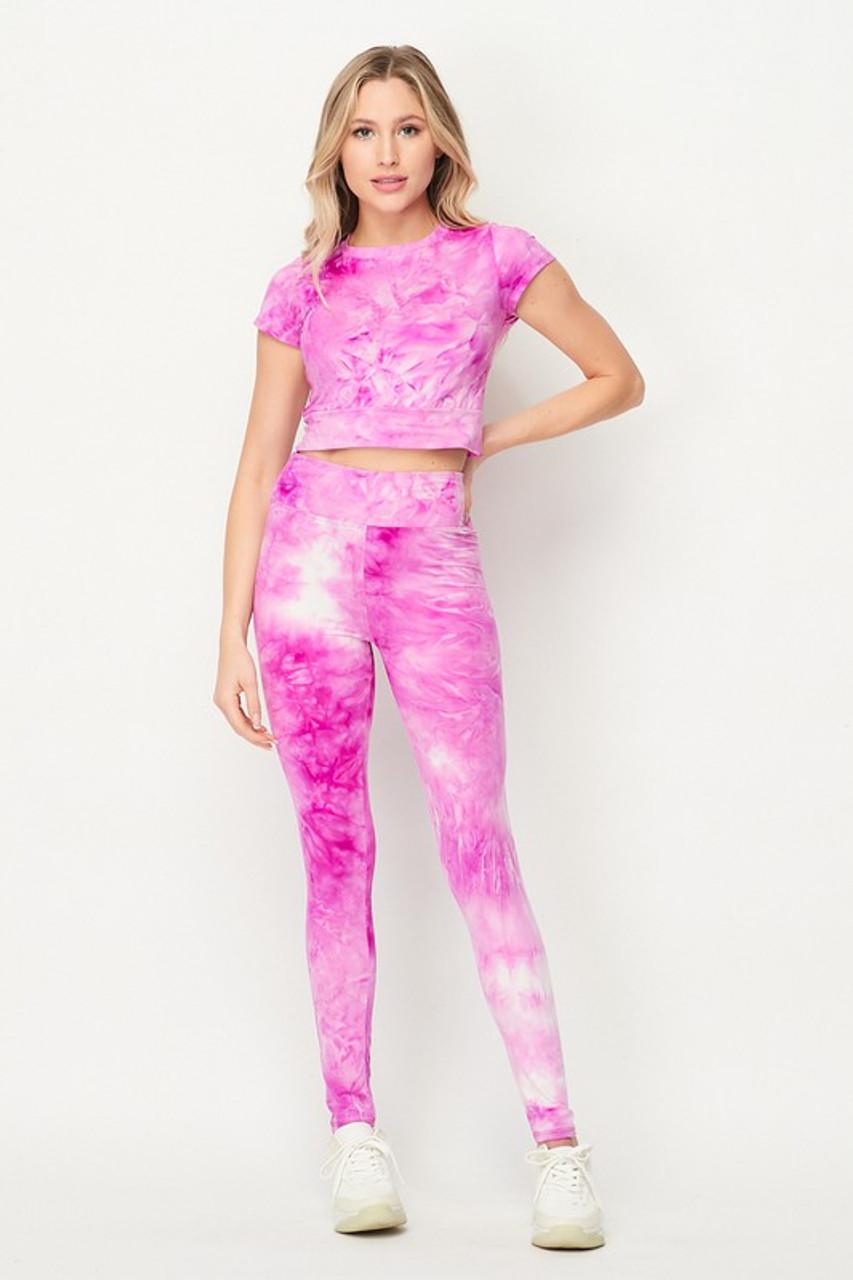 Violet Purple Tie Dye 2 Piece Leggings and Short Sleeve Crop Top Set