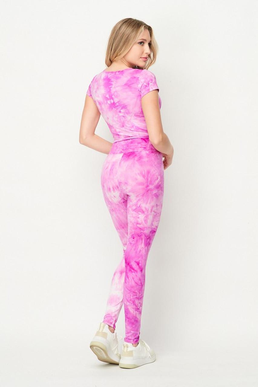 Violet Purple Tie Dye 2 Piece Leggings and Ruched Short Sleeve Crop Top Set