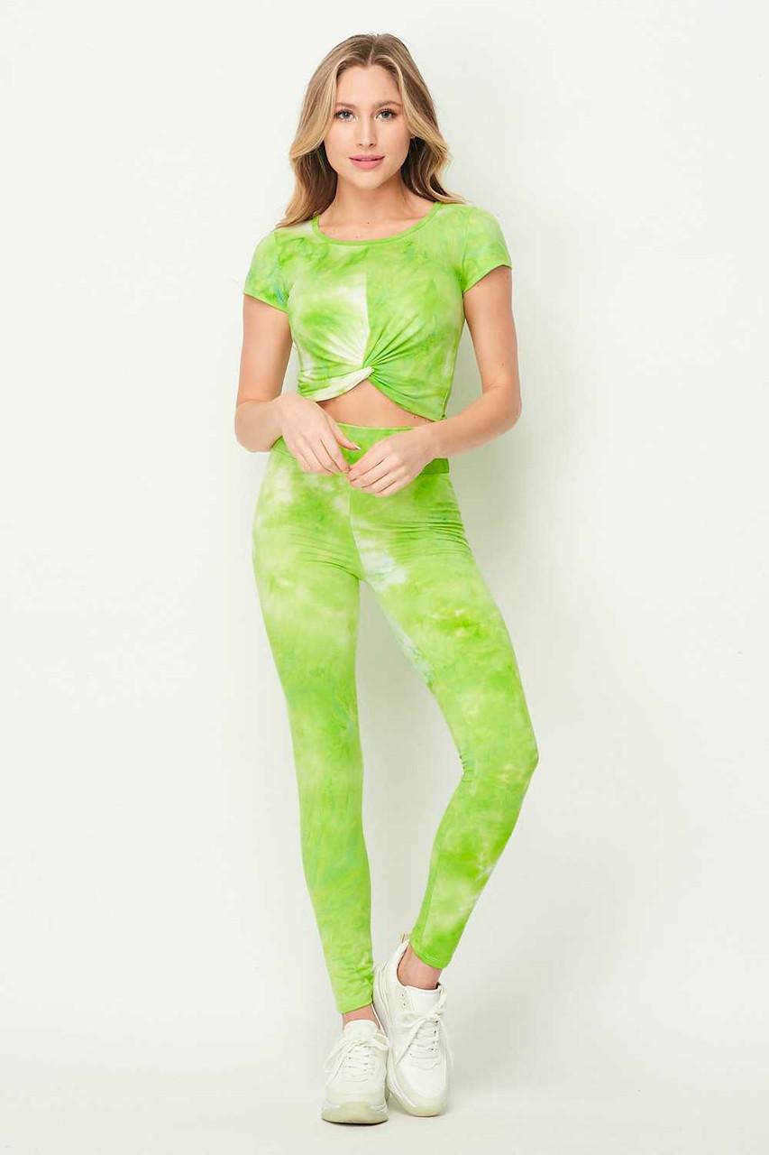 Tie Dye 2 Piece Leggings and Ruched Short Sleeve Crop Top Set
