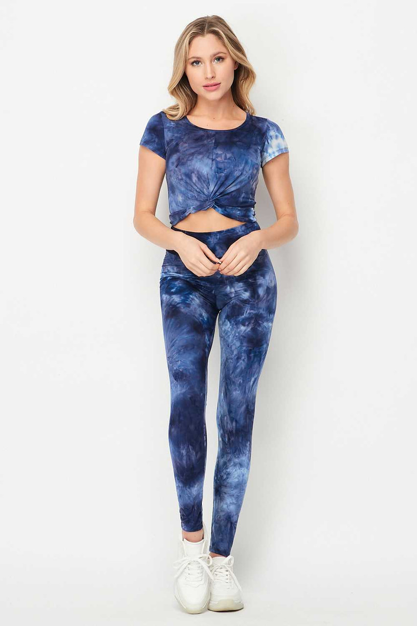 Blue Tie Dye 2 Piece Leggings and Ruched Short Sleeve Crop Top Set
