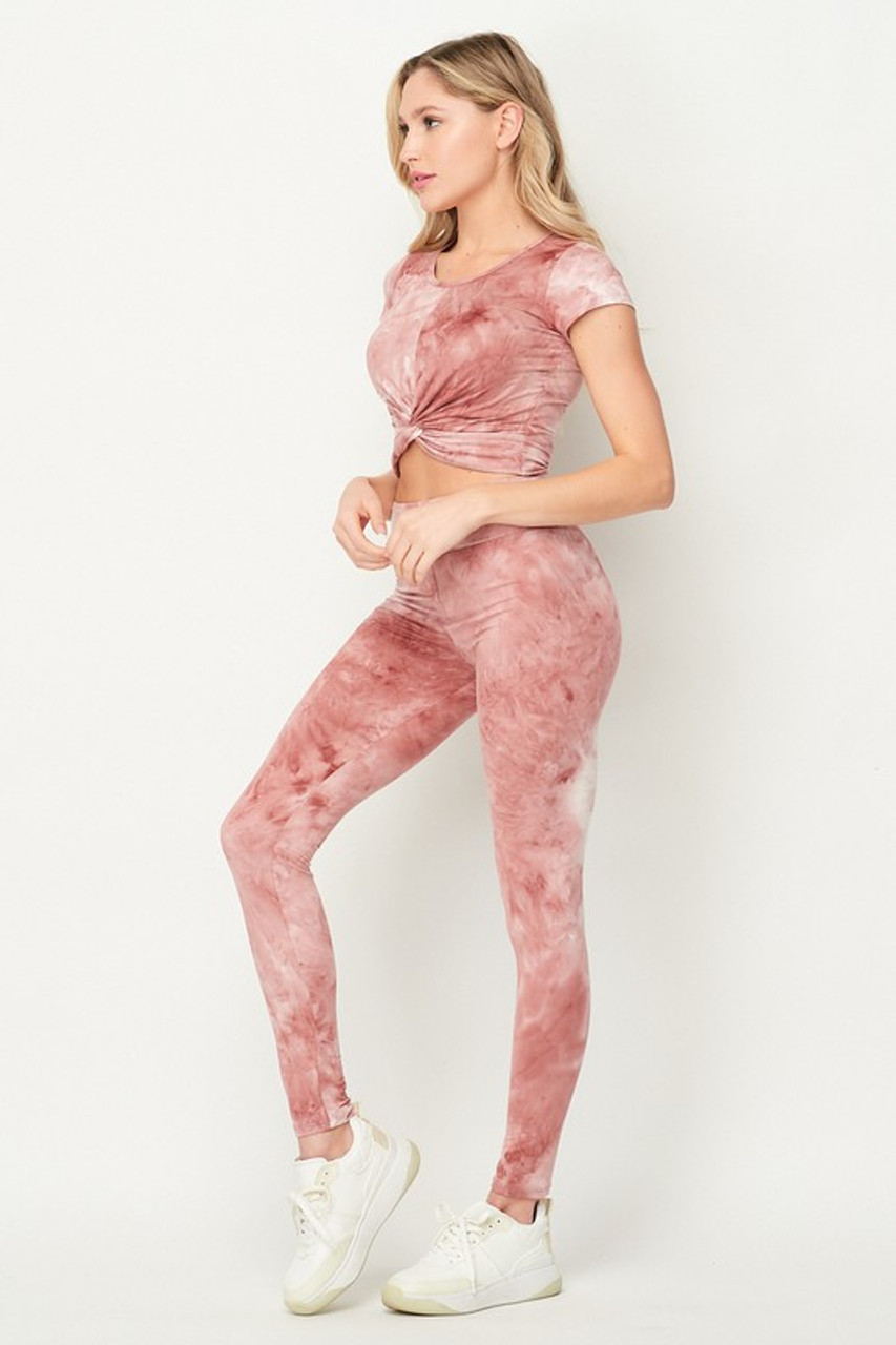 Mauve Tie Dye 2 Piece Leggings and Ruched Short Sleeve Crop Top Set