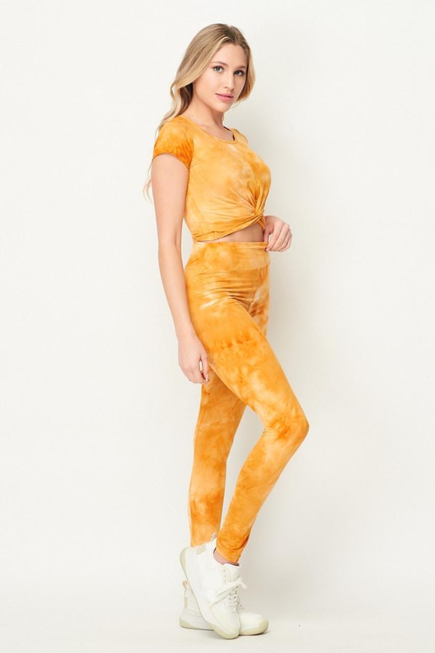 Mustard Tie Dye 2 Piece Leggings and Ruched Short Sleeve Crop Top Set