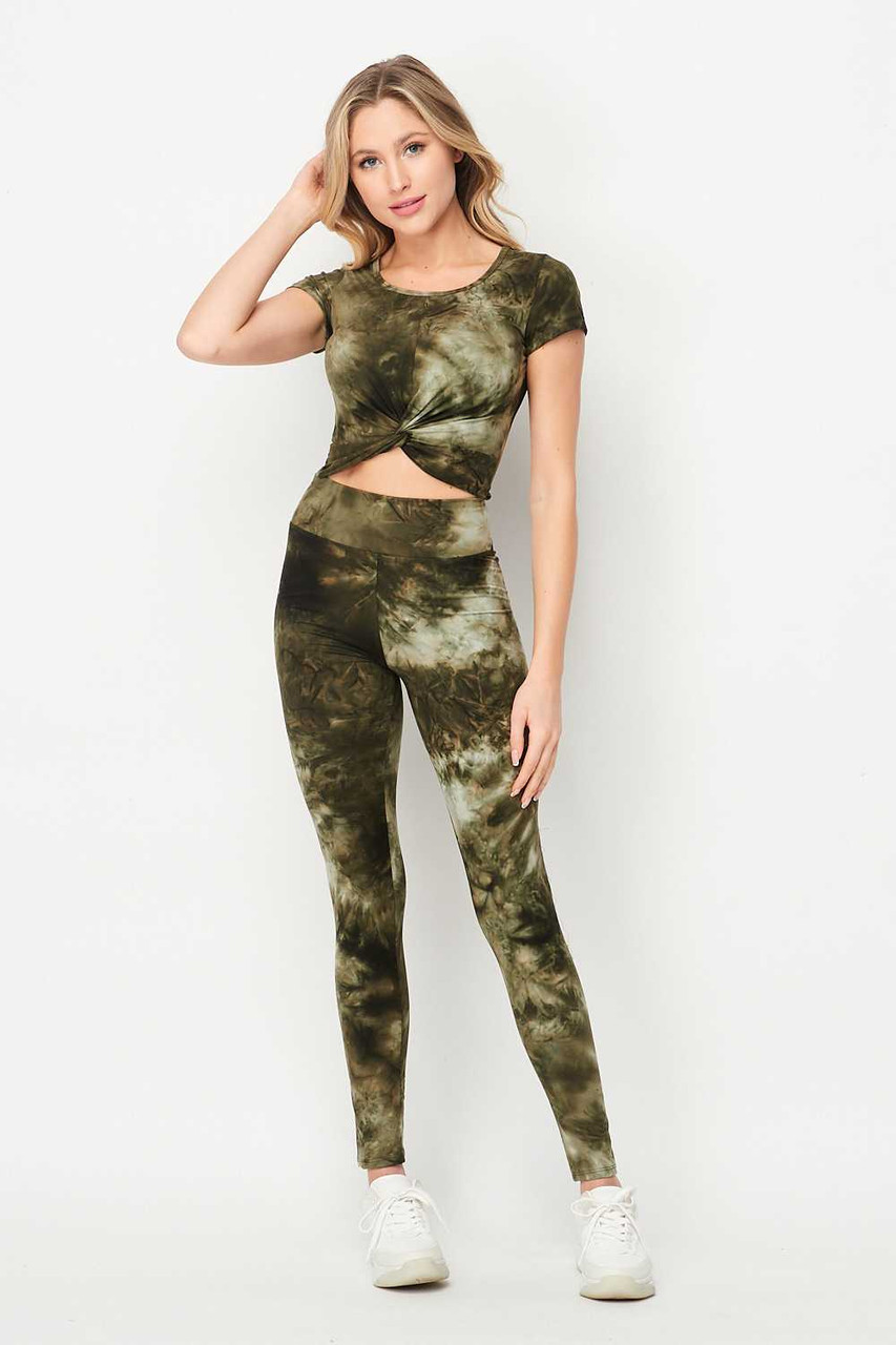 Olive Tie Dye 2 Piece Leggings and Ruched Short Sleeve Crop Top Set