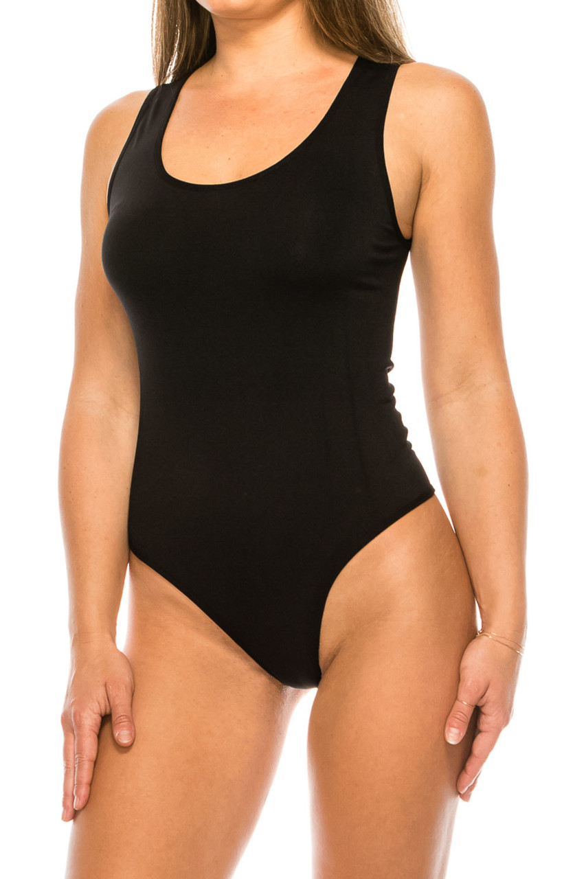 Front of Black Seamless Basic Bodysuit with Snap Closure