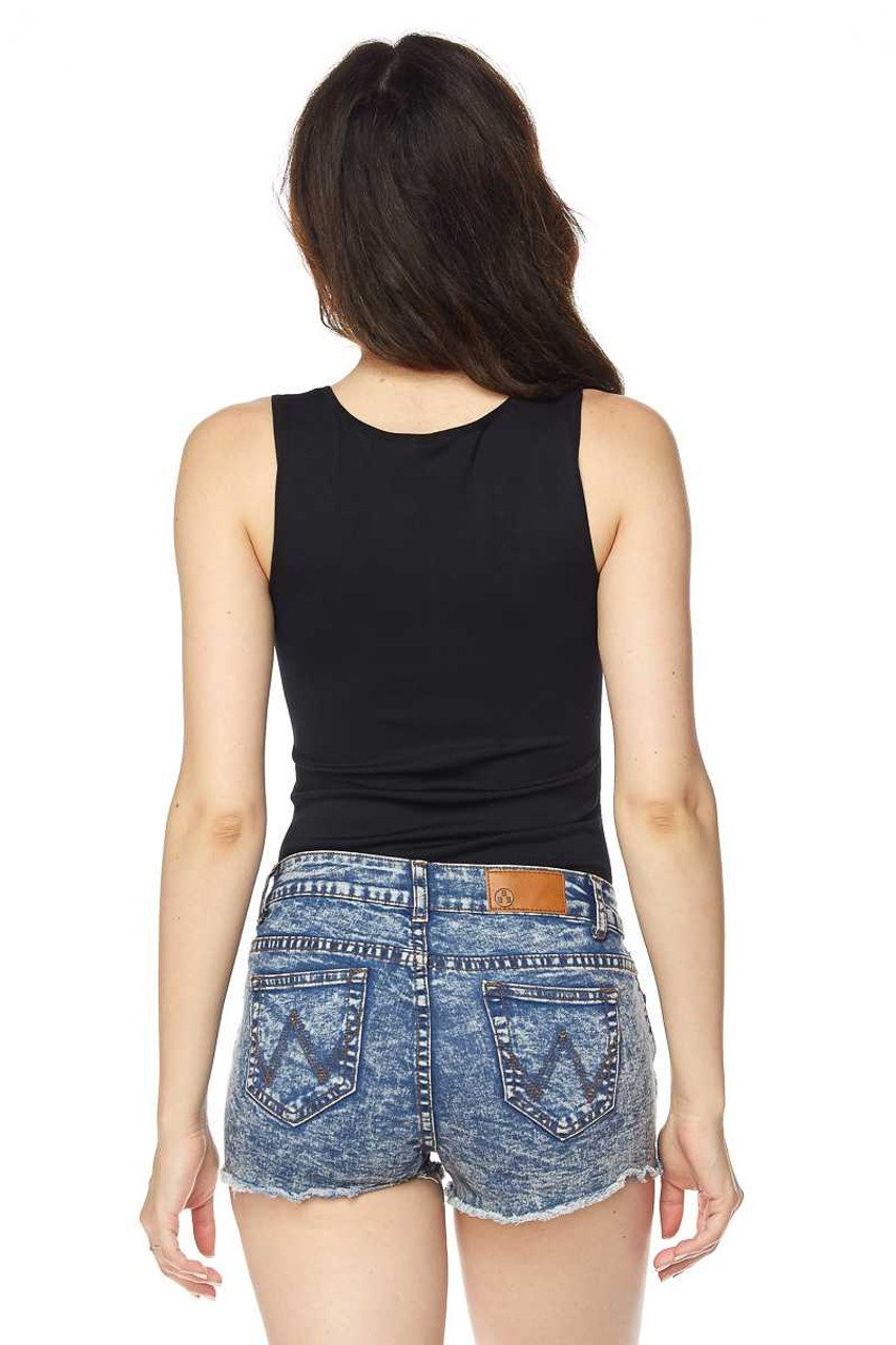 Back of Black Seamless Basic Bodysuit with Snap Closure