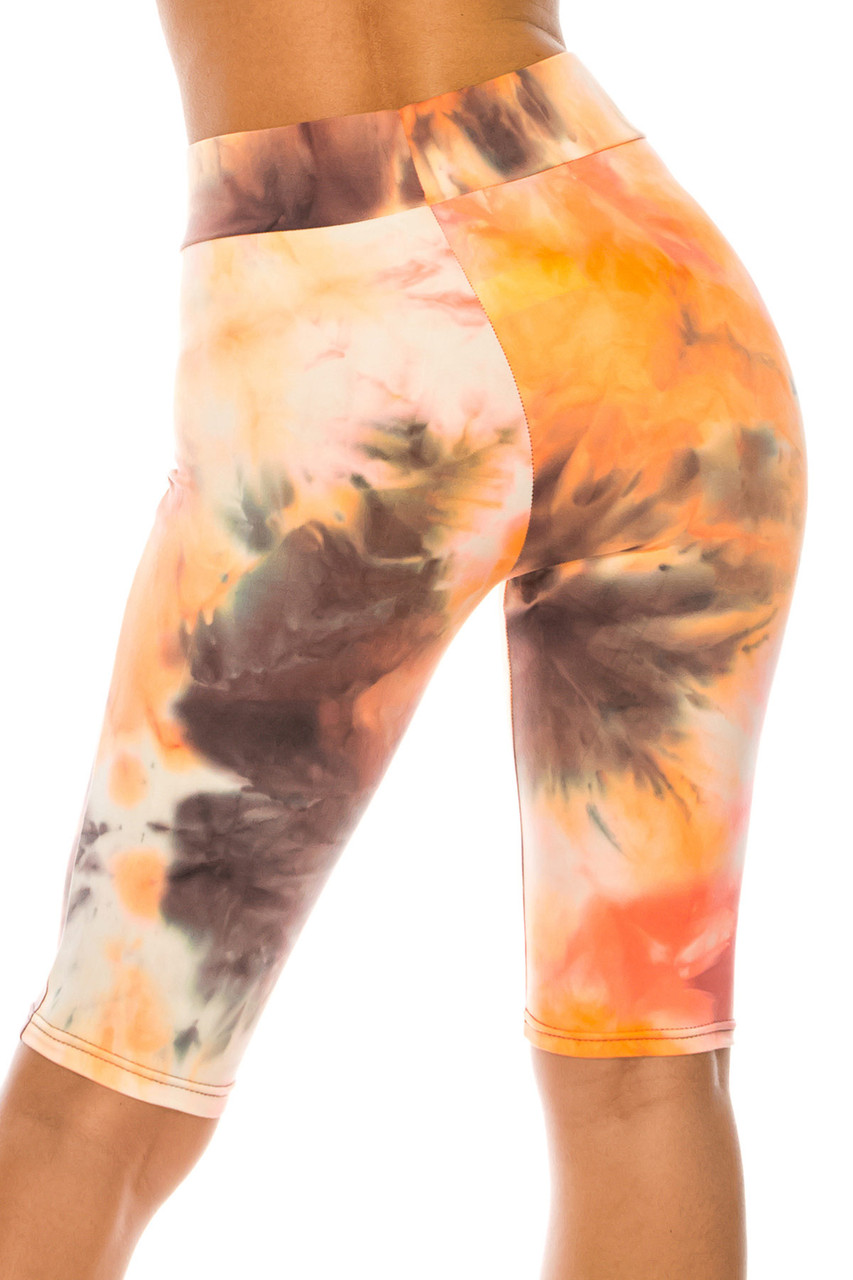 Back side image of Buttery Soft Creamsicle Tie Dye High Waisted Biker Shorts - 3 Inch Waist
