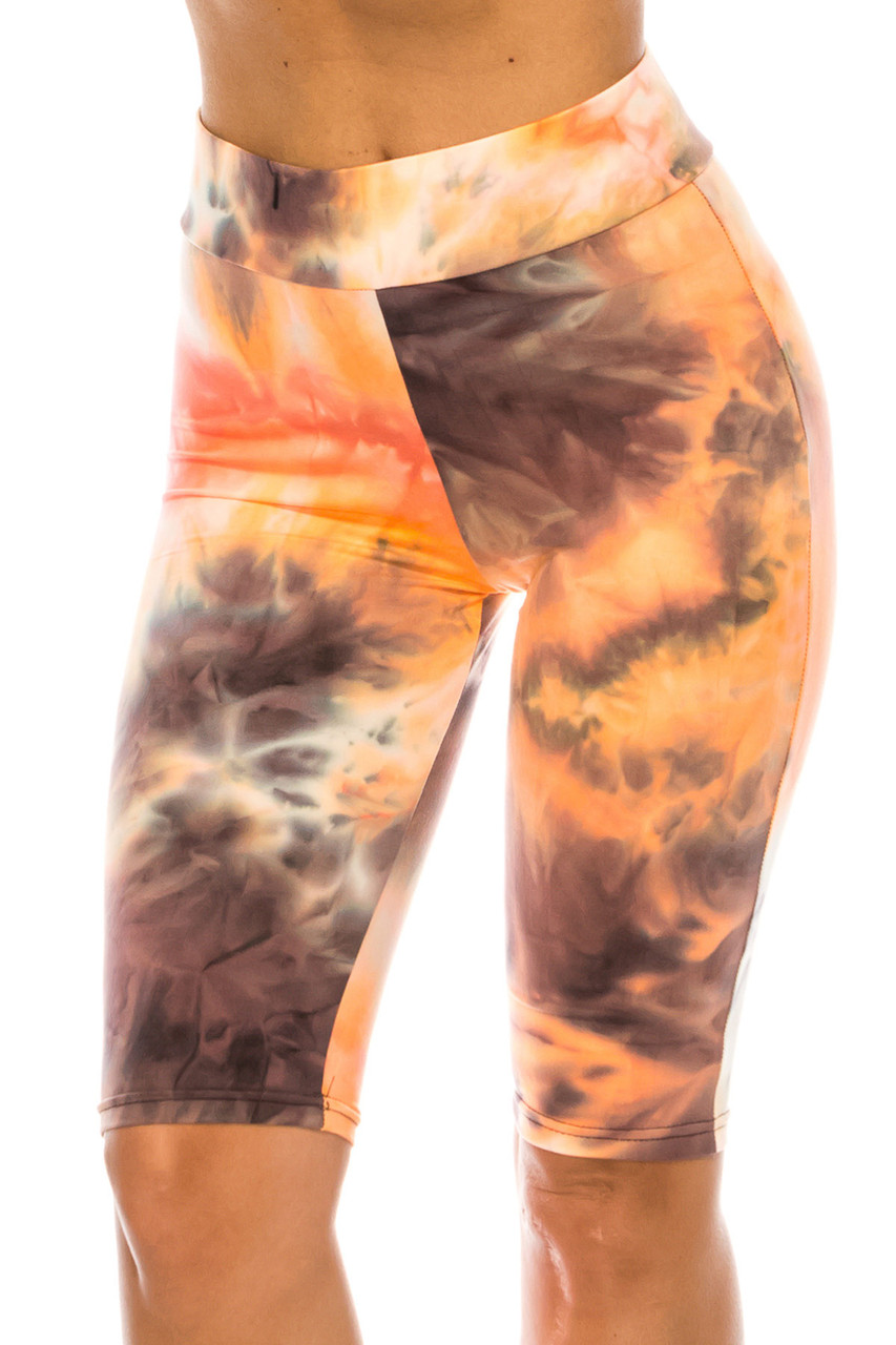 Front of Buttery Soft Creamsicle Tie Dye High Waisted Biker Shorts - 3 Inch Waist