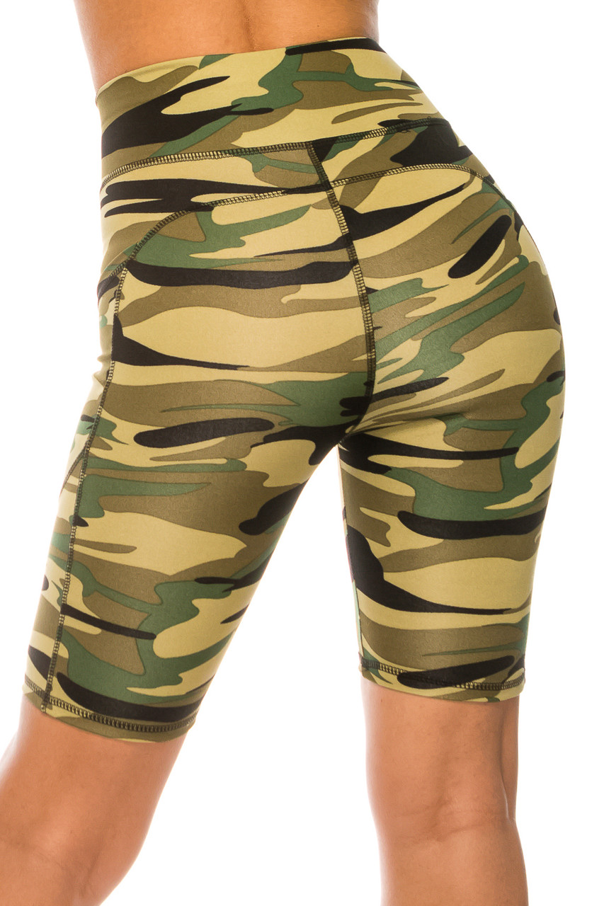Back side image of Green Camouflage High Waist Sport Biker Shorts with Pockets showing off the sleek figure hugging fit.