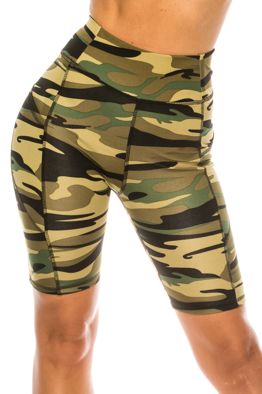 Front of Green Camouflage High Waist Biker Sport Shorts with Pockets with a flattering and supportive high waist design.