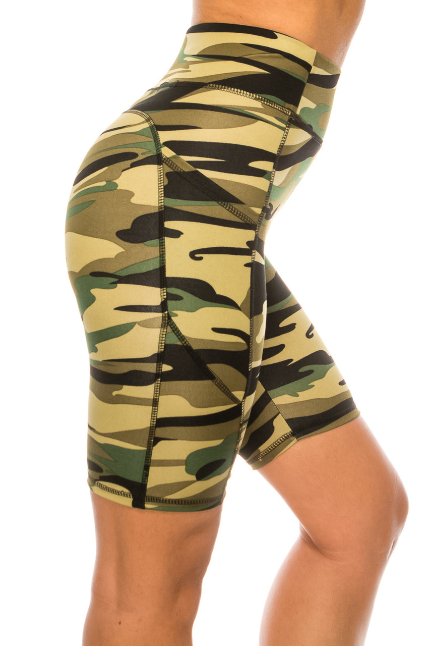 Right side of Green Camouflage High Waist Biker Sport Shorts with Pockets