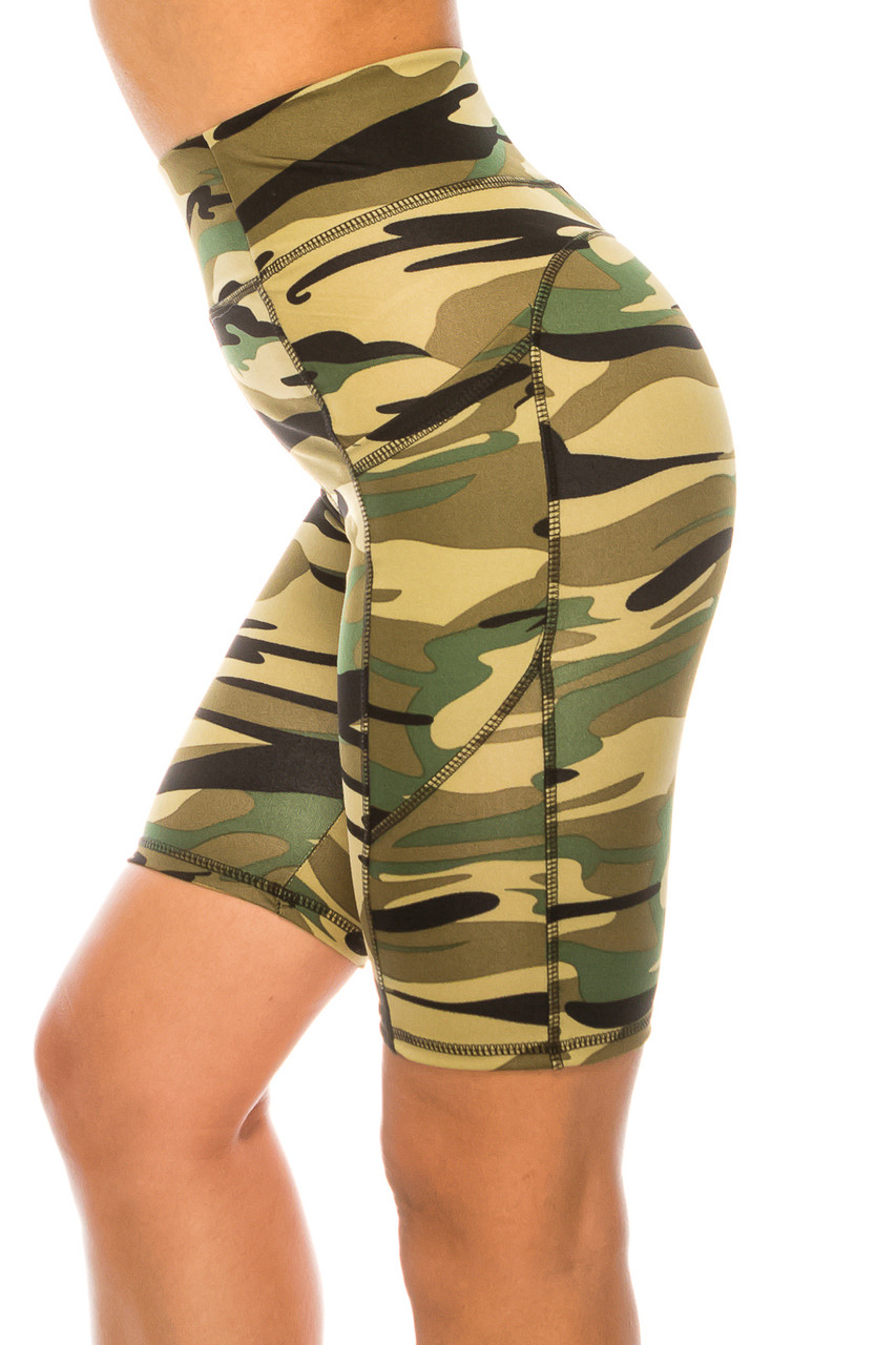 Left side of Green Camouflage High Waist Biker Sport Shorts with Pockets