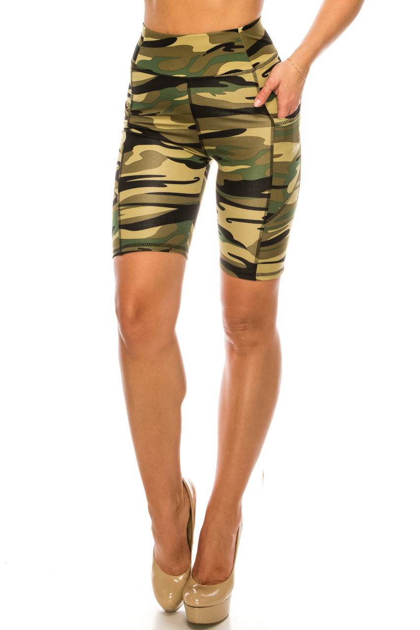 Full front view of Green Camouflage High Waist Sport Biker Shorts with Pockets