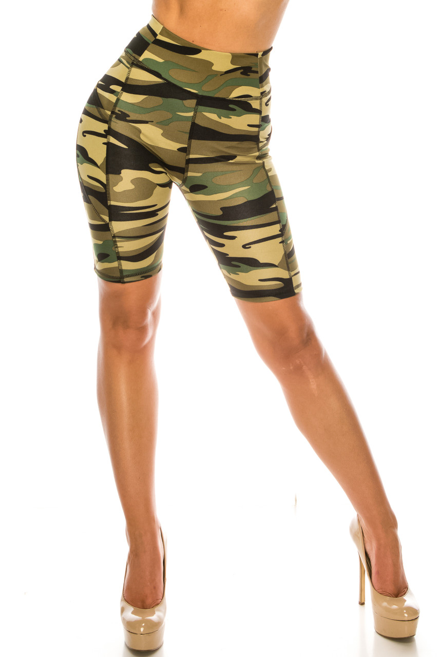 Front of Green Camouflage High Waist Sport Biker Shorts with Pockets