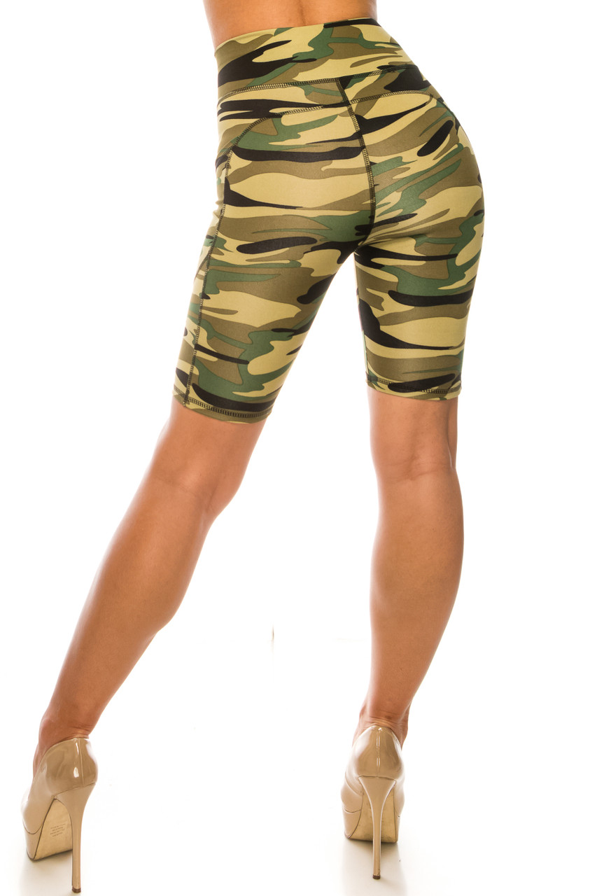 Back of Green Camouflage High Waist Sport Biker Shorts with Pockets