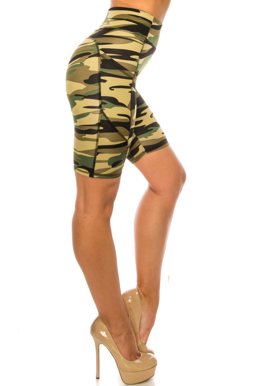 Right side of Green Camouflage High Waist Sport Biker Shorts with Pockets