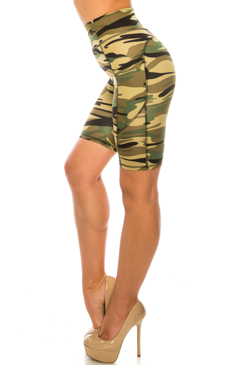 Left side of Green Camouflage High Waist Sport Biker Shorts with Pockets