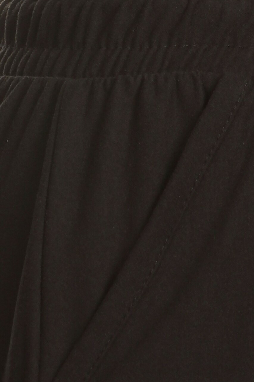 CLose-up fabric swatch of Buttery Soft Basic Black Solid Plus Size Joggers