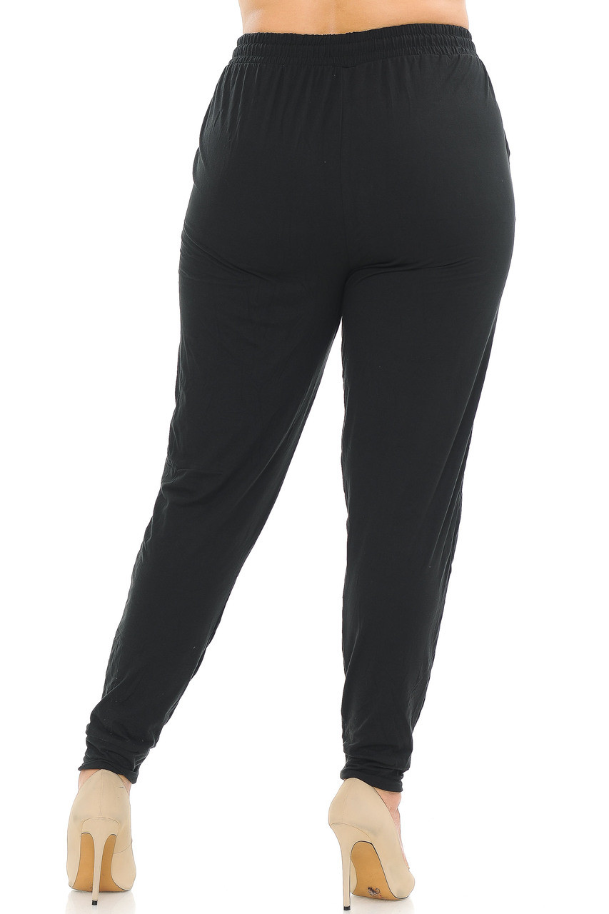 Back side image of Buttery Soft Basic Black Solid Plus Size Joggers
