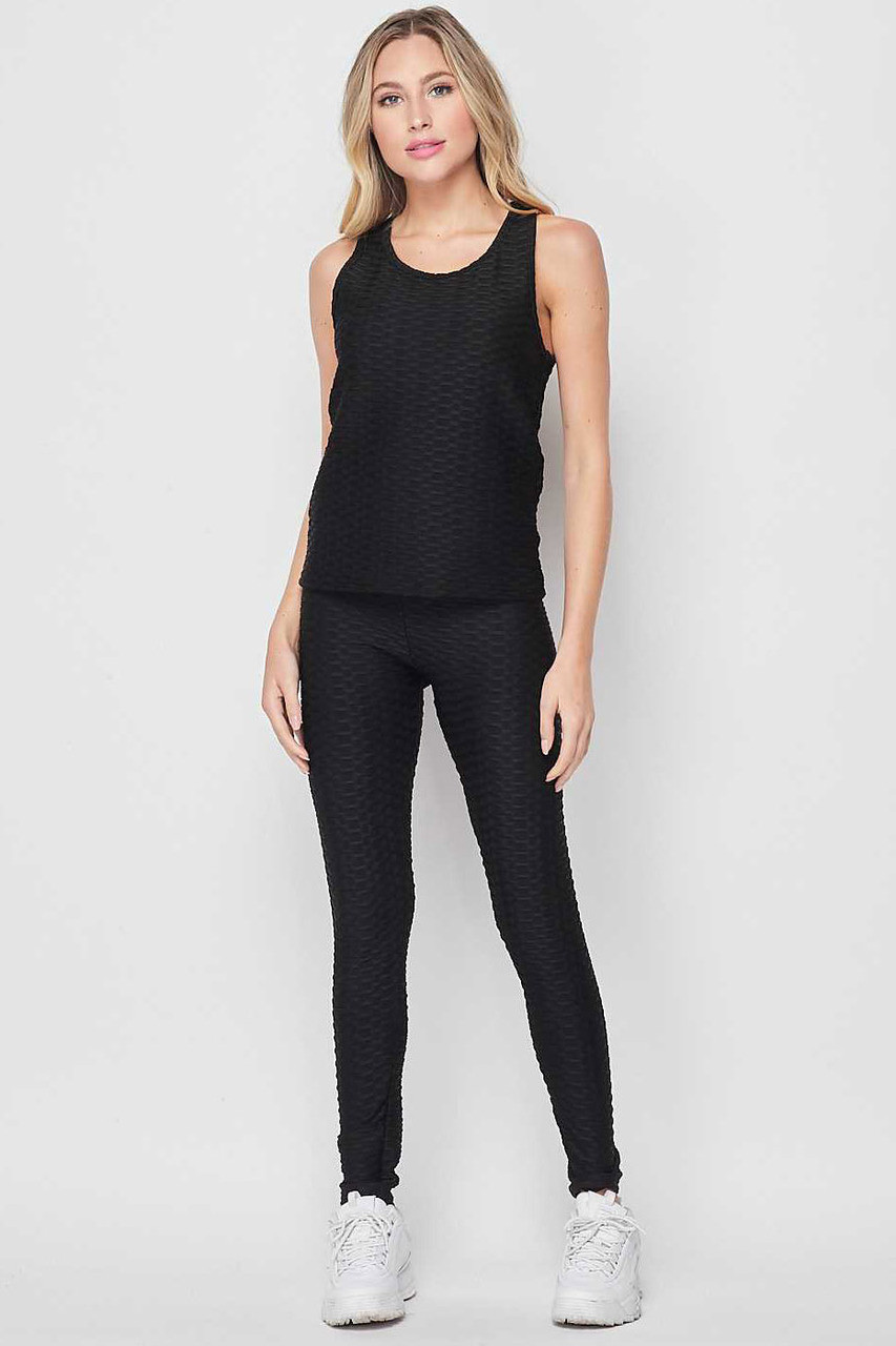 Front side of Black 2 Piece Scrunch Butt Leggings and Tank Top Set