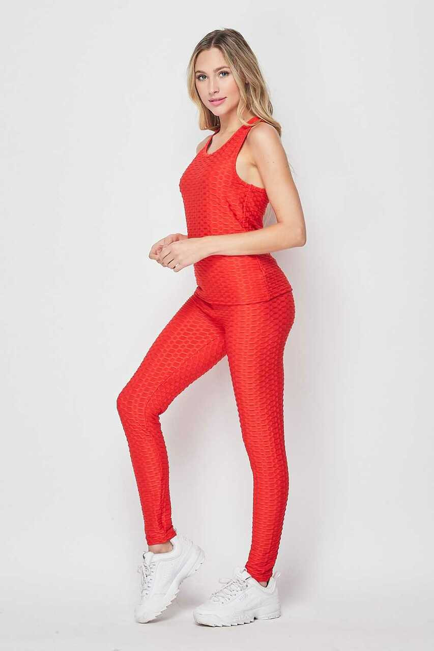 Left side of Red 2 Piece Scrunch Butt Leggings and Tank Top Set