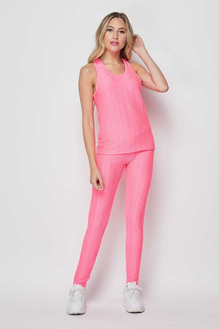 Front side of Pink 2 Piece Scrunch Butt Leggings and Tank Top Set