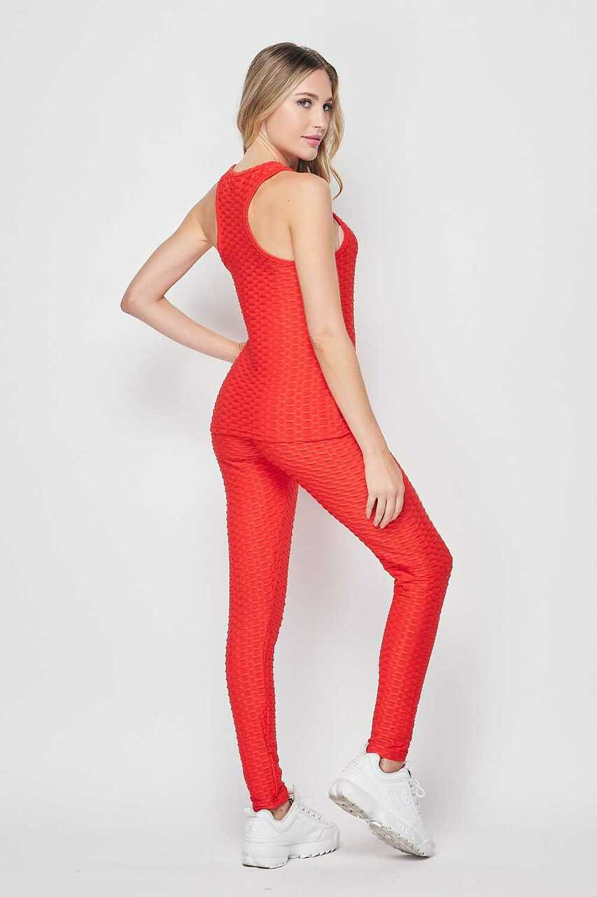 RIght side image of Red 2 Piece Scrunch Butt Leggings and Tank Top Set