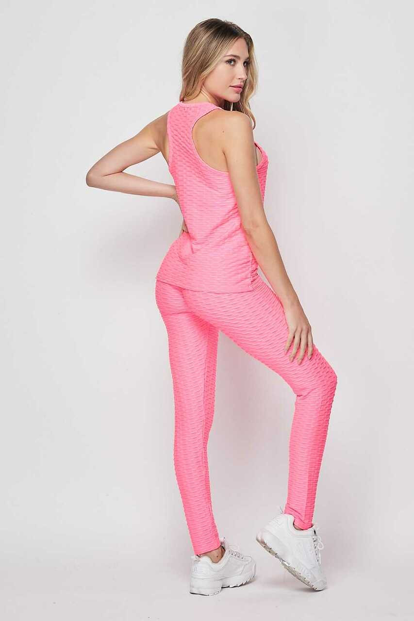 Right side image of Pink 2 Piece Scrunch Butt Leggings and Tank Top Set