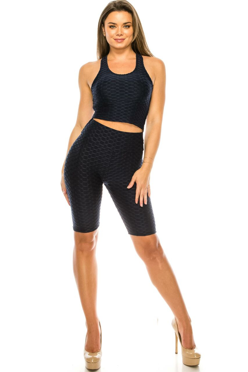 Front of Black 2 Piece Scrunch Butt Shorts and  Crop Top Set