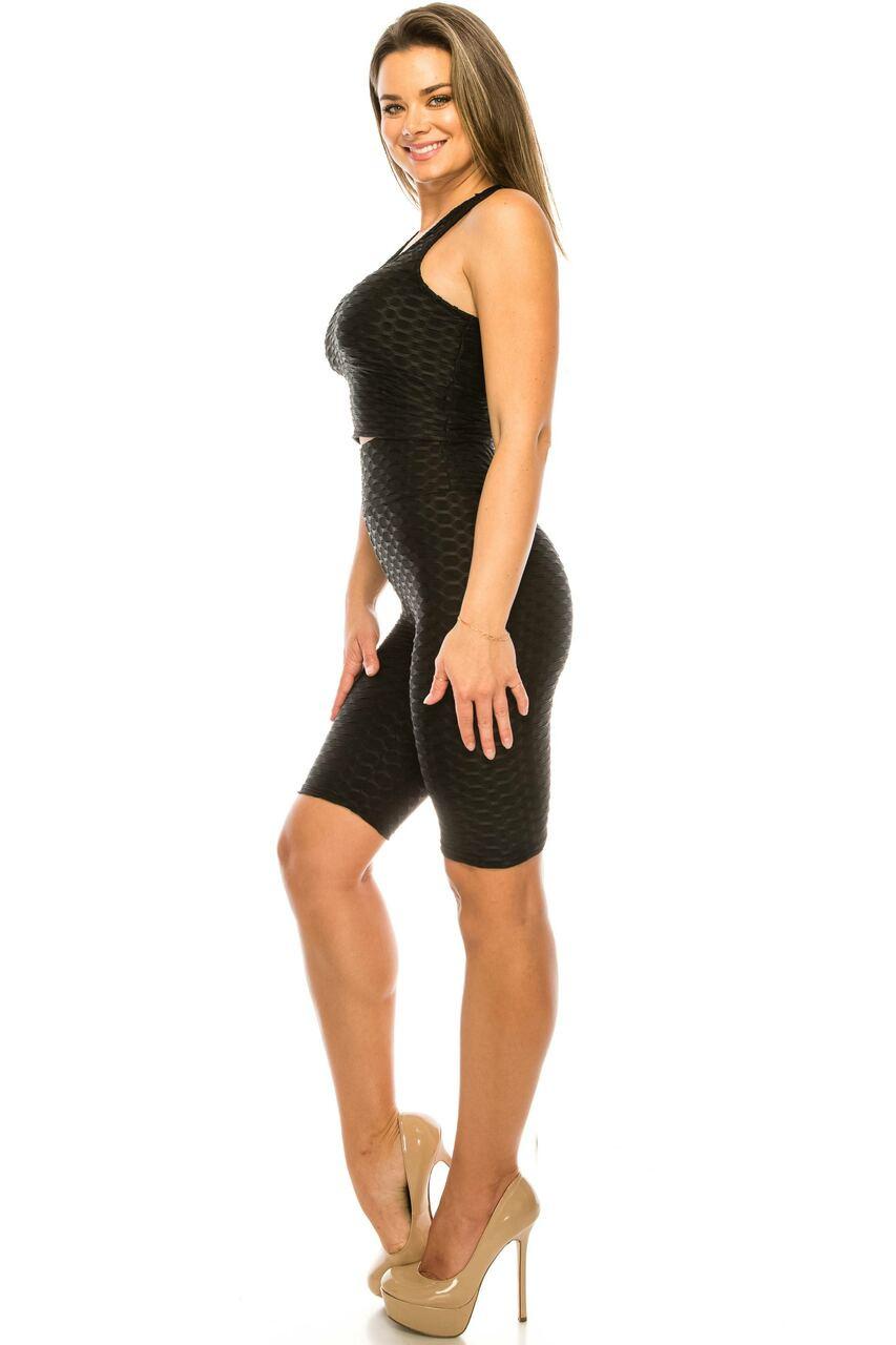 Left side of Black 2 Piece Scrunch Butt Shorts and  Crop Top Set