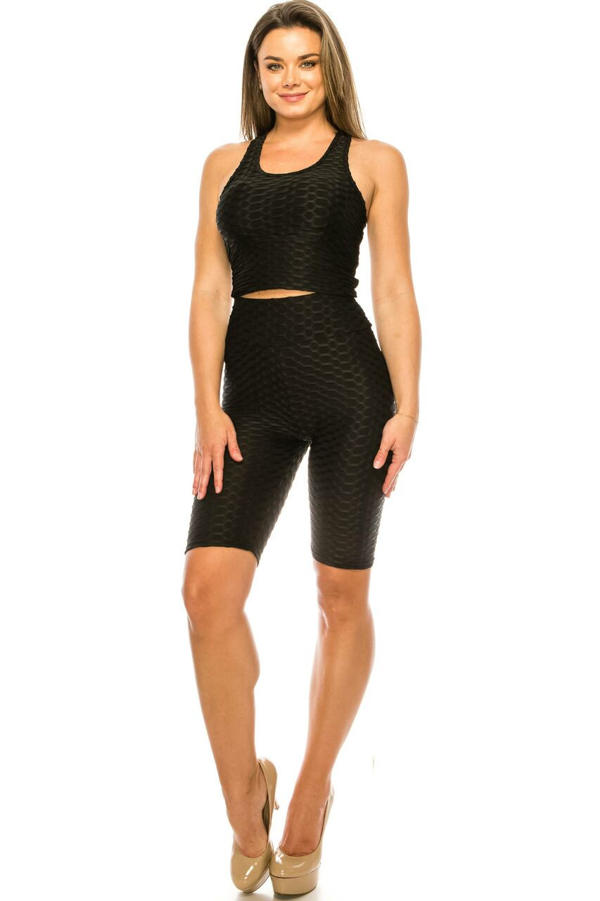 Front side of Black 2 Piece Scrunch Butt Shorts and  Crop Top Set