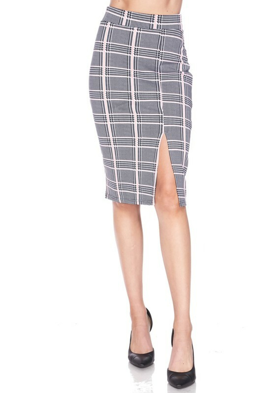 Front side image of Baby Pink Glen Plaid Plus Size Midi Pencil Skirt with Front Slit shown styled with black pumps