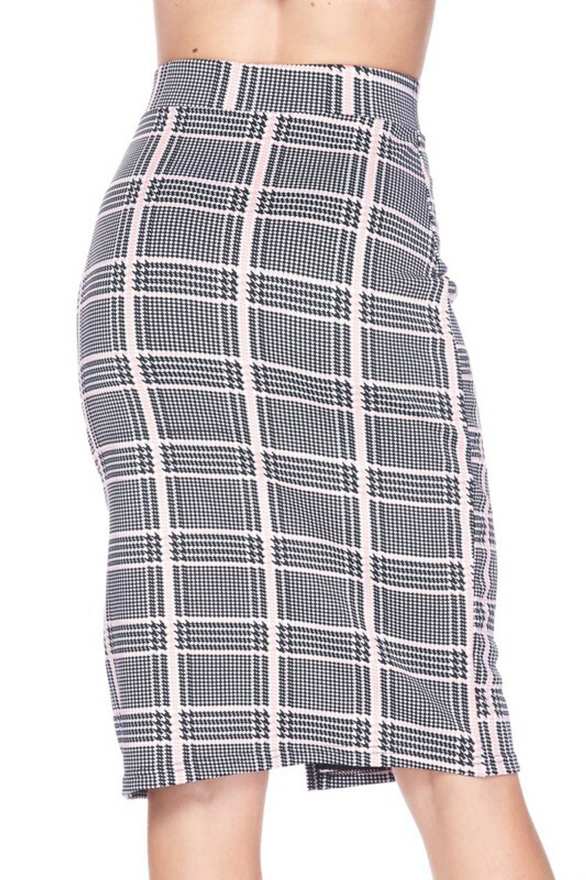 Back side image of Baby Pink Glen Plaid Plus Size Midi Pencil Skirt with Front Slit