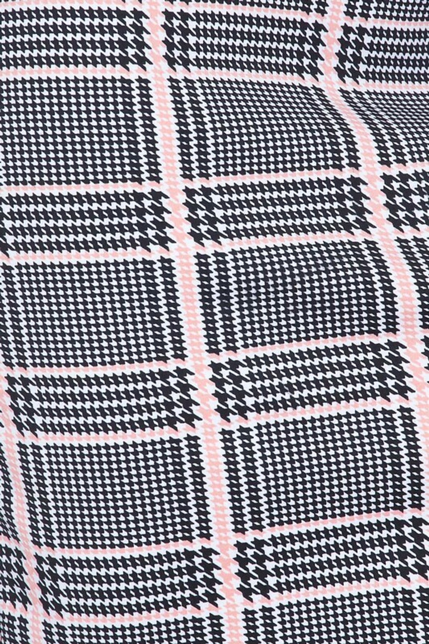 Close-up fabric image of Baby Pink Glen Plaid Plus Size Midi Pencil Skirt with Front Slit