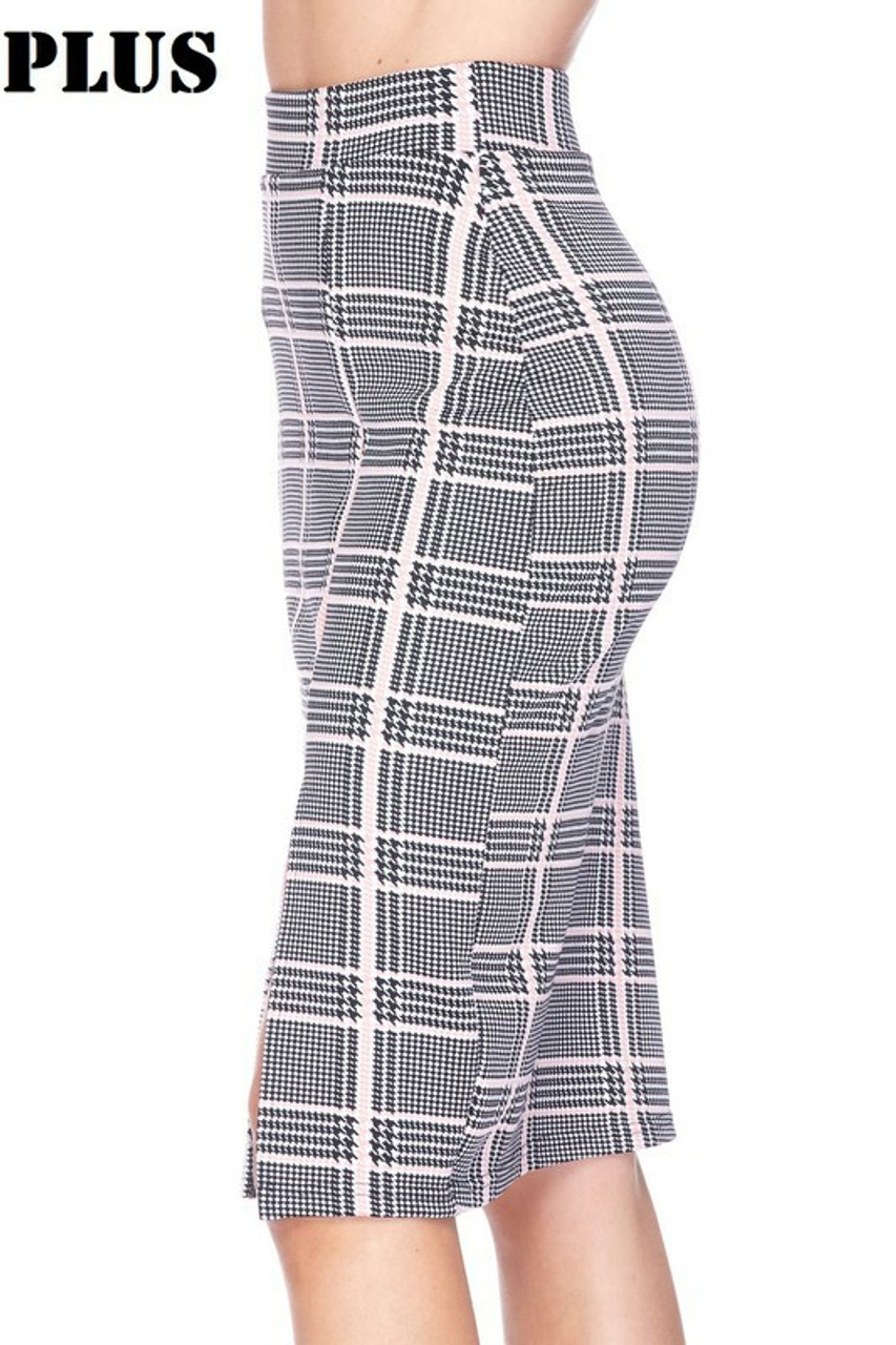 Left side image of Baby Pink Glen Plaid Plus Size Midi Pencil Skirt with Front Slit