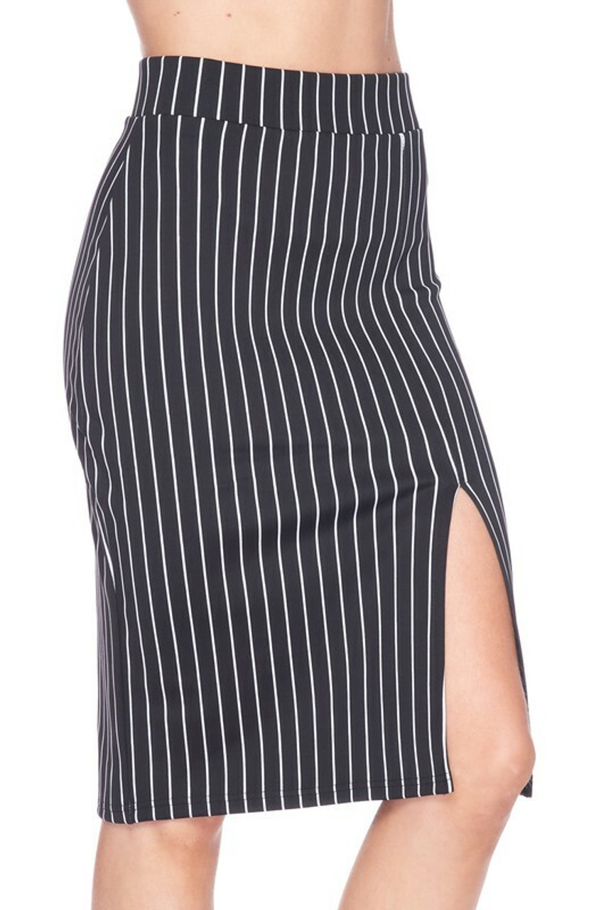 Silky SRight side of oft Scuba Black and White Pinstripe Plus Size Pencil Skirt with Front Slit with bent left knee