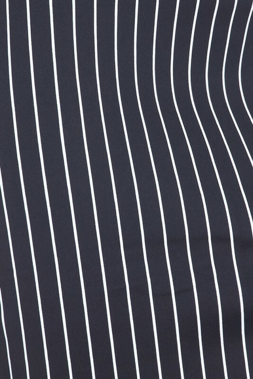 Close-up fabric image of Silky Soft Scuba Black and White Pinstripe Plus Size Pencil Skirt with Front Slit
