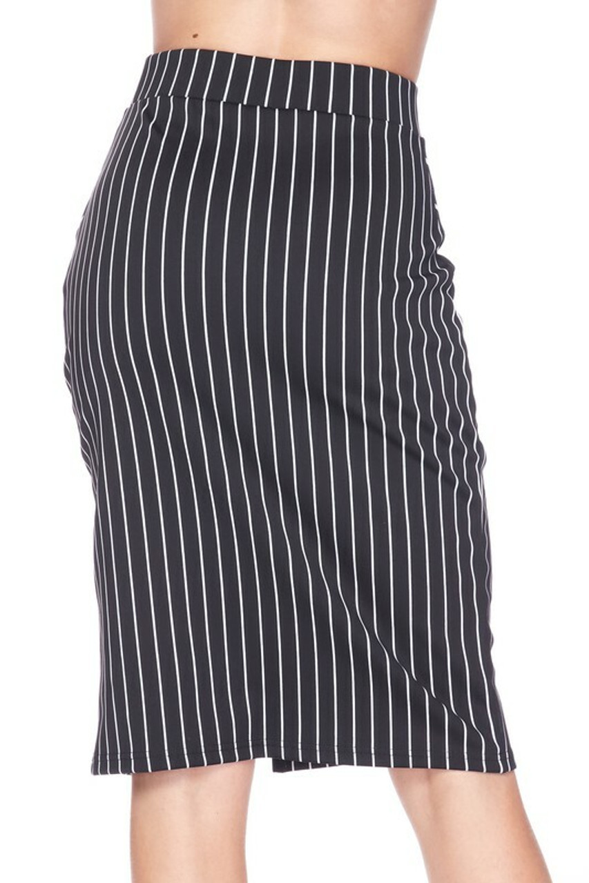 Back side of Silky Soft Scuba Black and White Pinstripe Plus Size Pencil Skirt with Front Slit featuring a versatile black and white color scheme that is perfect for any season.