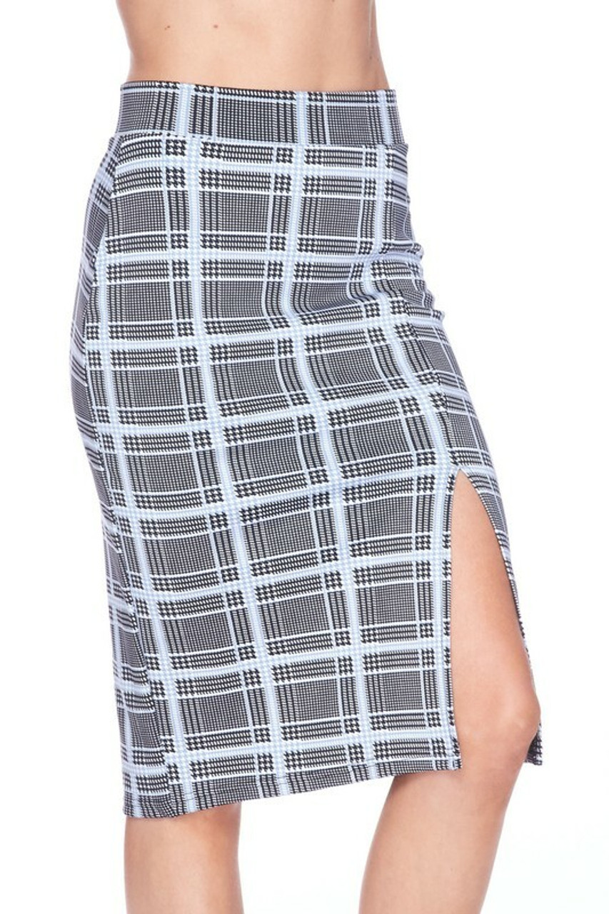 Front side of Silky Soft Scuba Baby Blue Glen Plaid Plus Size Pencil Skirt with Front Slit with left bent knee showing off the split detail