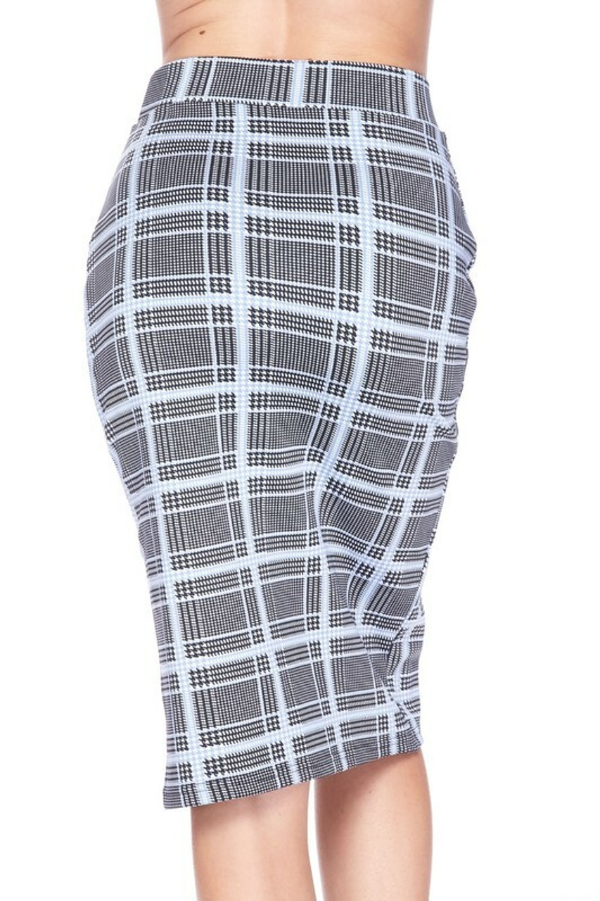 Back side image of Silky Soft Scuba Baby Blue Glen Plaid Plus Size Pencil Skirt with Front Slit
