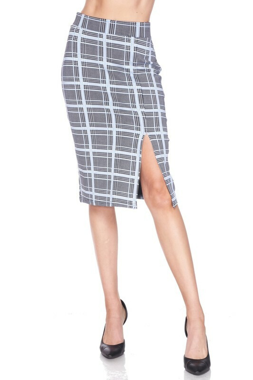 Front side view of Silky Soft Scuba Baby Blue Glen Plaid Plus Size Pencil Skirt with Front Slit shown worn with black pumps