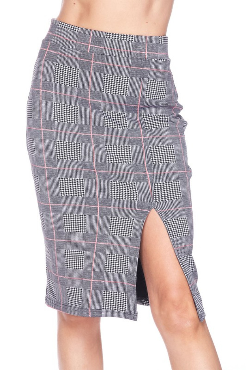 Front side image of Silky Soft Scuba Coral Glen Plaid Plus Size Pencil Skirt with Front Slit featuring a split hem at the left leg